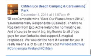 Delighted to have supported Clifden Eco Campsite